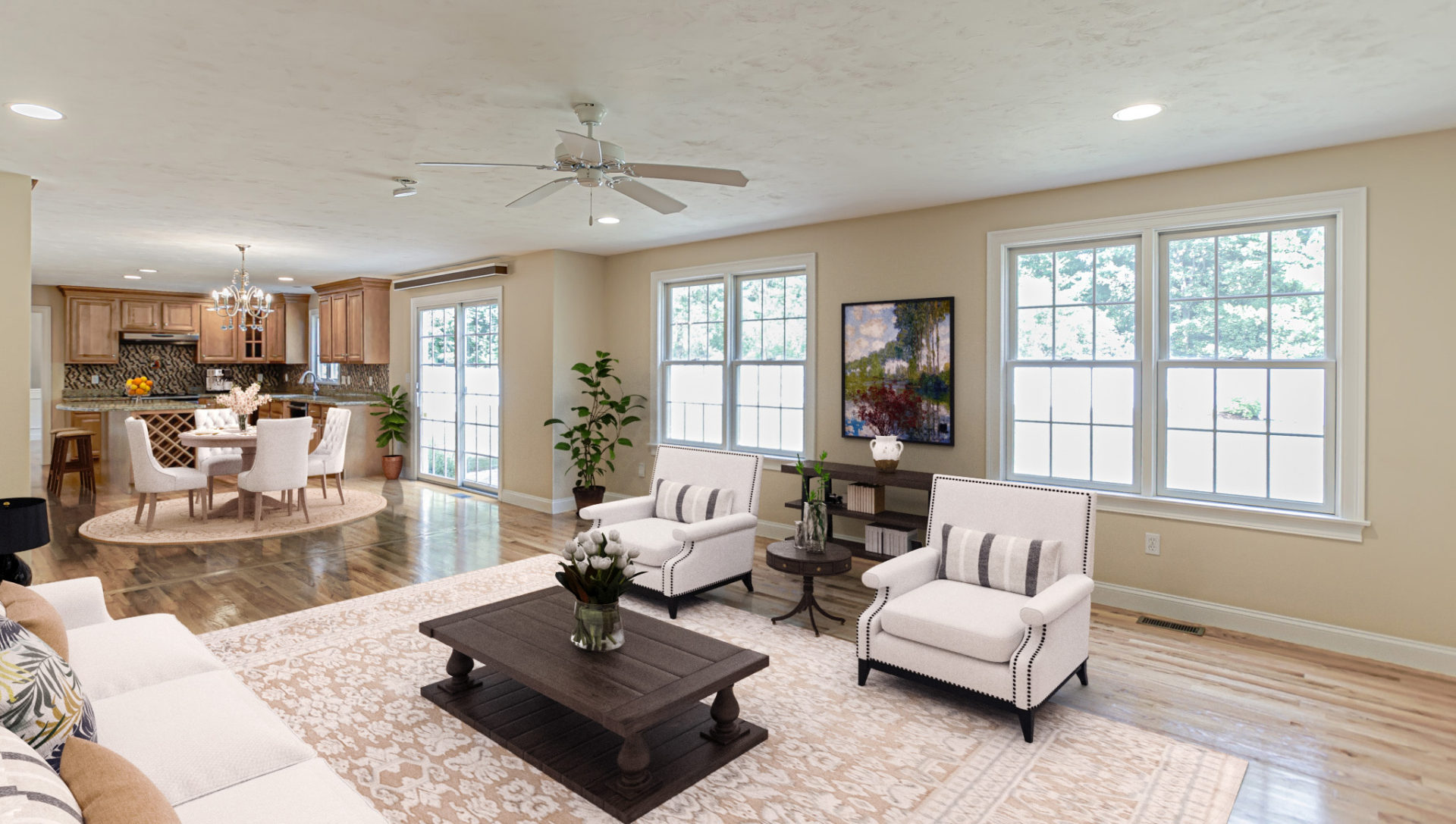 Virtually Staged Family Room in a 2-story colonial style home in Natick, MA.