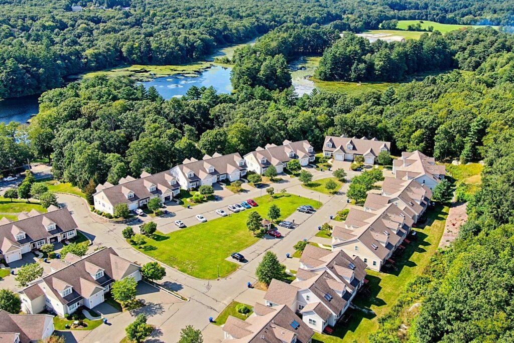 Aerial (drone) image of a condominium complex in Stoughton, MA.