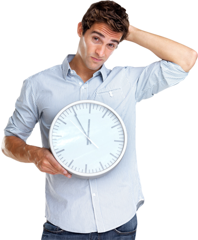 confused man with clock in hands