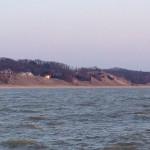Lake Michigan shore at sunset