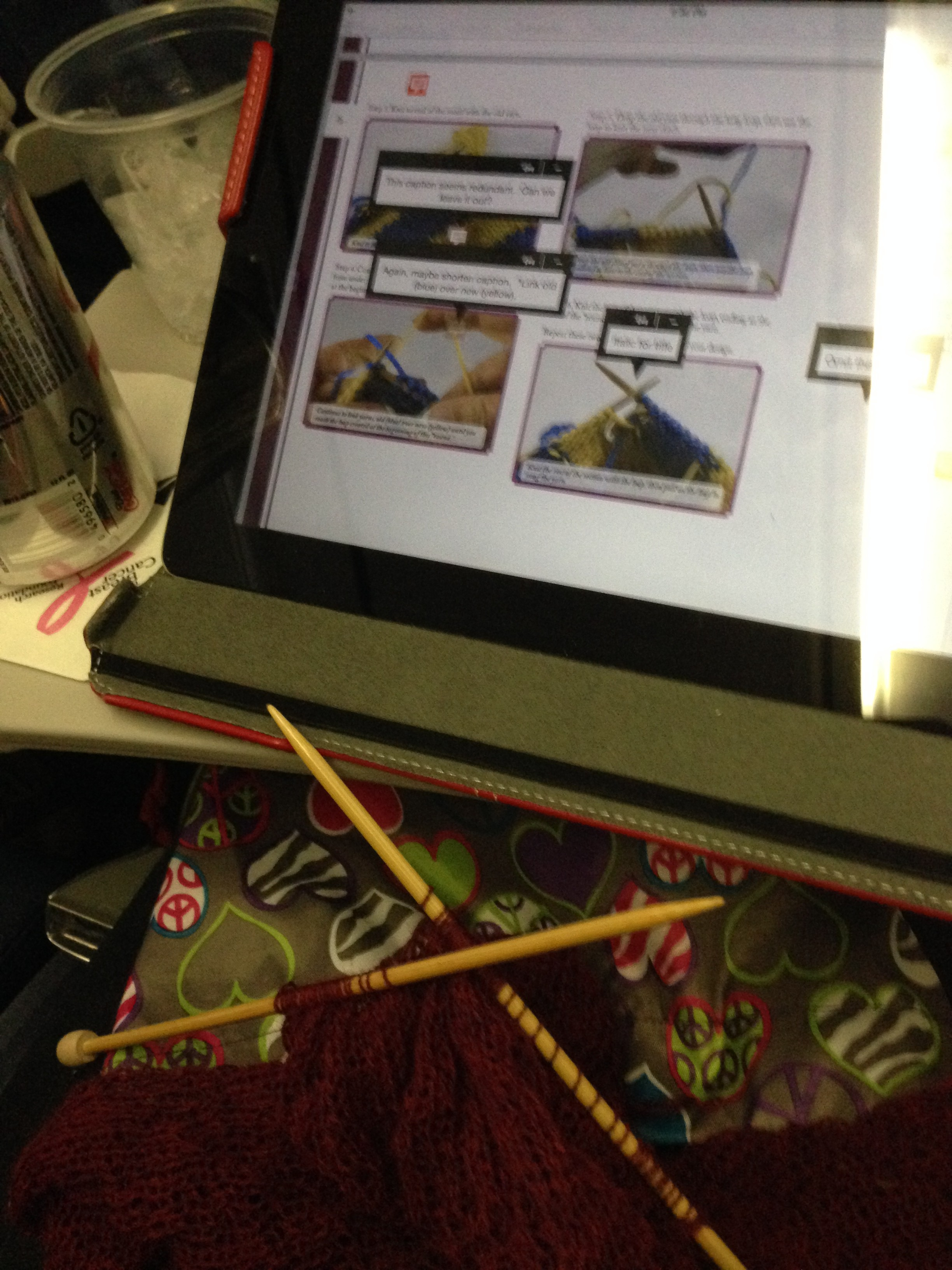 "Editing ""Annetarsia Knits"" on the plane to Hartford.  Notice that I am still knitting, but keeping it simple!"