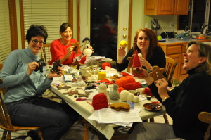 Jill, Anne, Val and Elaine.  Assembling our Christmas toys!