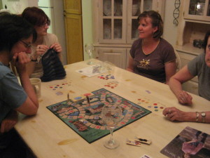 Jill, my daughter Deborah, Elaine and Val.  We were playing a Pride and Prejudice board game...and knitting, of course!