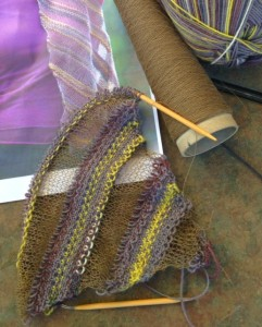 """Pattern is """"Diagonal Ribbons"""", designed by Karen Bradley. Knitter's Magazine K112, page 34.  Yarn is LB Collection Stainless Steel, Color 123 Khaki, and LB Sock Ease, Color 201."""