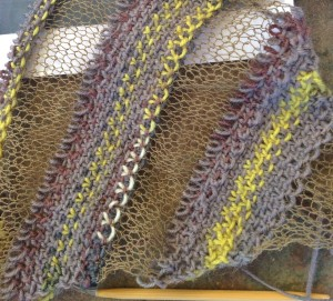 Sock Ease stripes are linen stitch, and the Stainless steel stripes are stockinette.