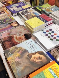 Table featuring books by teachers at Stitches.  The first time I've been represented there. This was a big moment for me.
