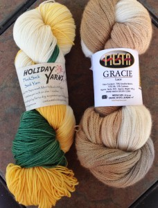 """Holiday Yarns Flock Sock (U of O Duck colors!) and Fiesta Yarns Gracie Lace.  The color is """"Vanilla"""", and I love its subtle elegance."""