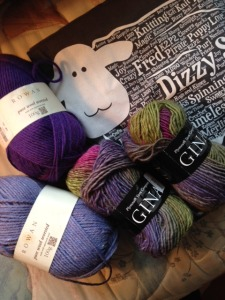 """I am going to make a Dizzy scarf to resemble the one Bobbie Hodges knit for the Dizzy gallery in """"Annetarsia Knits"""".  I say """"resemble"""" because I don't think it could be duplicated!  Village Yarn and Fiber doesn't carry the Cascade 220 that she used, anymore, so Bobbie and I went around the shop looking for a worthy substitute. That was great fun, and we had lots of willing help with the shopping task.   I'm using the Gina yarn that Bobbie used, and substituting Rowan Pure Wool for the Cascade 220.  It is lovely yarn and I haven't used it before, so I am looking forward to casting on...."""
