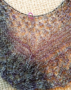 Close up of the knitting.