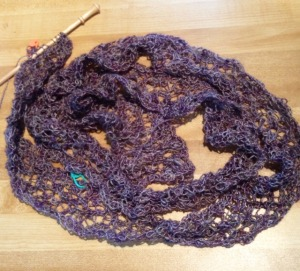 58 out of 71 chart repeats achieved, looks like cat barf.  Knitting lace takes a lot of faith.