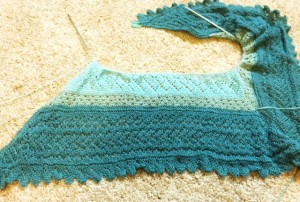 """An Orenbury Triangular Warm Shawl to knit"" by Galina Khmeleva.  Piecework 2002.  Yarn is Zephyr"