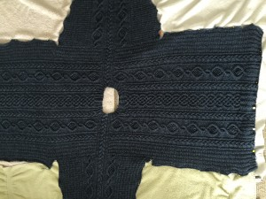 Duxbury Point pullover, blocking.  Knit with Simply Shetland Lambswool/silk