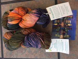 """Anacostia Worsted, Baltimore Skyline colorway: beautifully inspired by the postcard, and masterfully dyed to """"reflect"""" the skyline perfectly."""