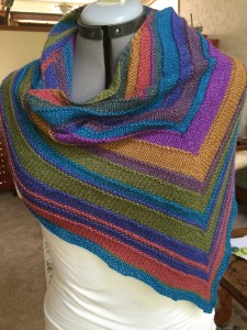 Caterpillargreen yarn in simple triangular shawl, for #1 Daughter's birthday coming up.