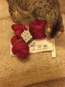New yarn and knitting bag from Black Bunny Fibers.  Kitty-approved!