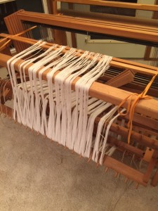 First warp - done back to front.  This is suggested for a separator beam, but I don't like it as well as front to back.