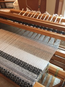 finishing the warp!  First finished cloth from the Gilmore floor loom.