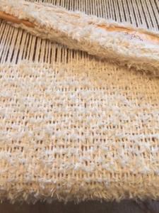 Muppet yarn for weft, Sugar and cream cotton warp