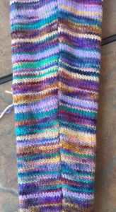 Seam finished but not blocked, seen from right side.