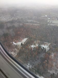 Flying into Burlington, Vermont on a snowy day.
