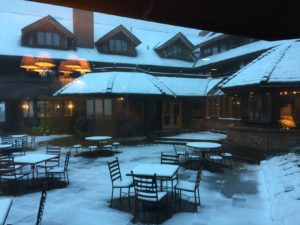 Trapp Family Lodge is a wonderful place with lots of cozy spots to knit and visit. The snow was a bonus.