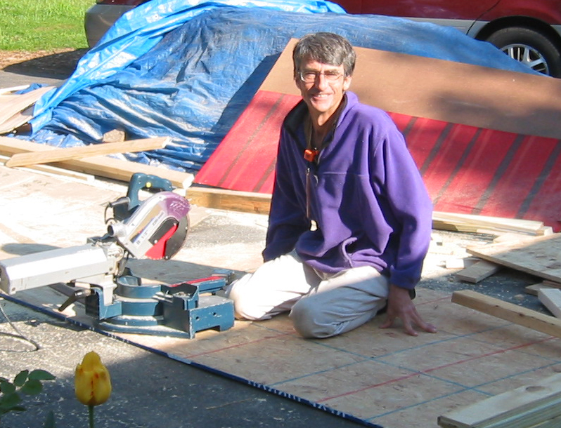 Russell Furbush building a garden shed