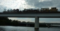 Work train over the Potomac