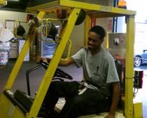 warehouse worker on forklift