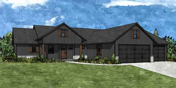 Ashley floor plan front rendering.