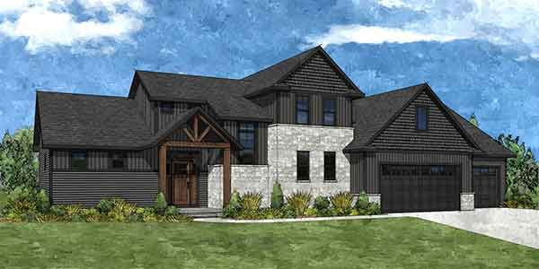 Front rendering of the Marissa house plan built by Virtue Homes custom home builders..