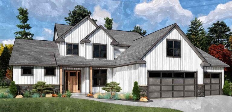 Front Rendering of the Grady house plan.