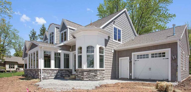 Custom home exterior built by Virtue Homes in Northeast Wisconsin.