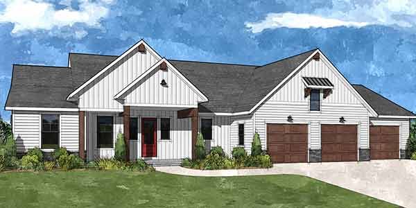 Front rendering of the Chatham house plan built by Virtue Homes custom home builders.
