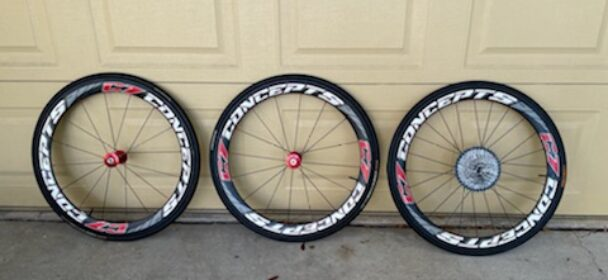 Used C7 Concepts 650c tubular wheels with 11 speed cassette