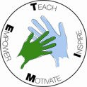 Teach Inspire Motivate & Empower. These words encircle a pair of illustrated hands.