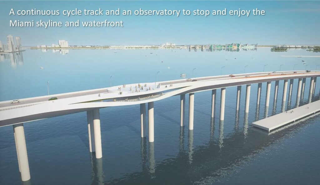 Rendering of the Rickenbacker Causeway showing new observation deck.