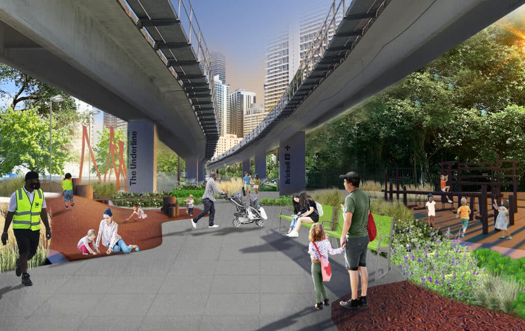 This rendering of The Underline Phase 2 shows a father and daughter holding hands in the middle of the linear park.
