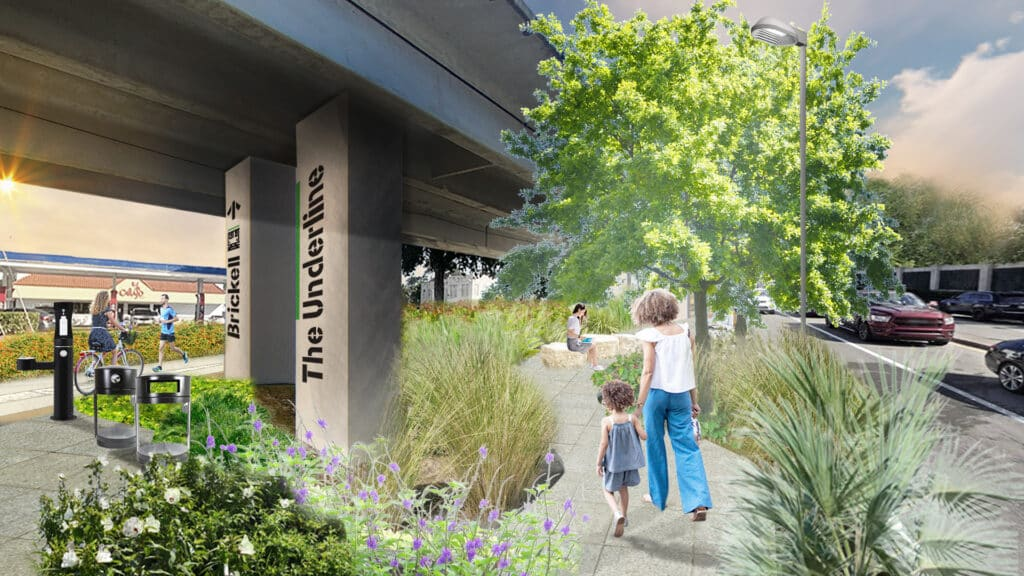 This rendering of The Underline Phase 2 shows a mother and child on a walking path in the park.