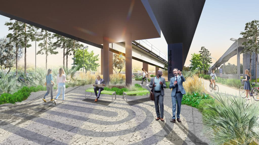 This rendering of The Underline Phase 2 shows two men walking in the park.