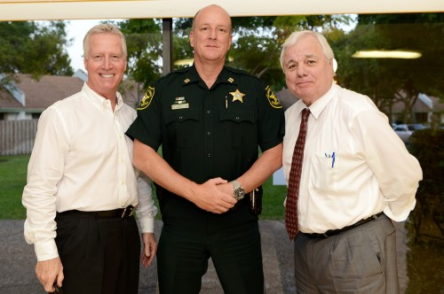 Logan Pierson, President, SmartWaterCSI, Captain Al Hubrig, Broward Sheriff's Office, Bob Butterworth, former Attorney General at the SmartWater CSI introduction to Oakland Forest residents.