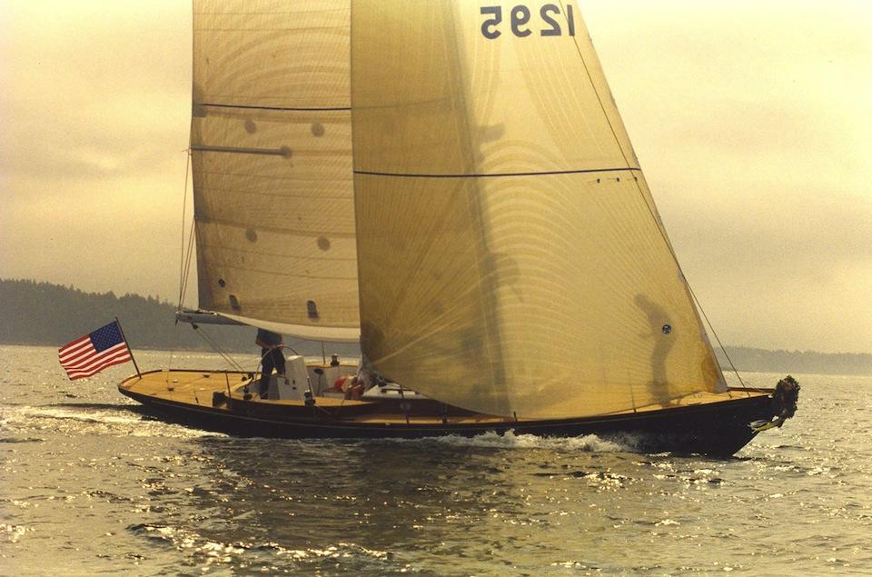 Racing/Daysailing Sloop Lena, sailing in fog, Brooklin Boat Yard