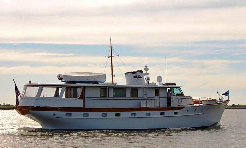 Bernadette classic 71' motor yacht after full restoration by Brooklin Boat Yard