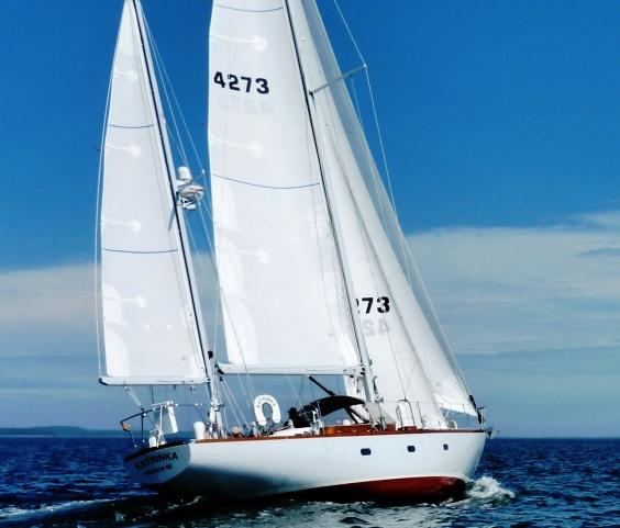 Sailing fiberglass construction yacht Katrinka after Brooklin Boat Yard restoration