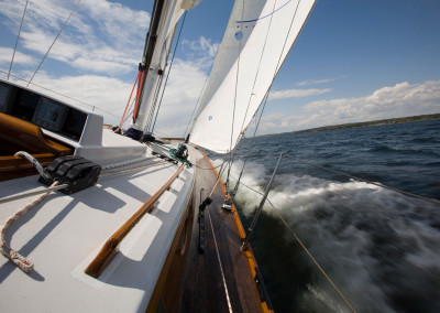 Deck view of Lena, a 47' Spirit of Tradition   Racing/Daysailing Sloop
