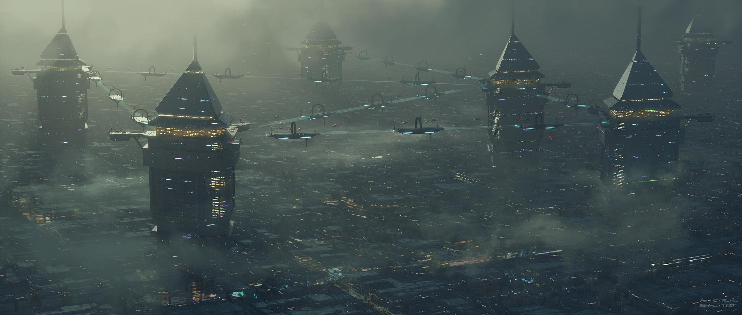SciFi Future City worldbuilding design photoshop 3d