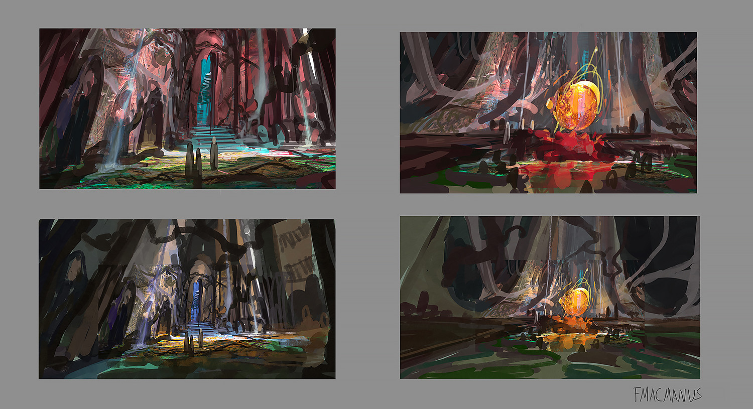 Thumbnails of red temple design worldbuilding in photoshop for seven lions