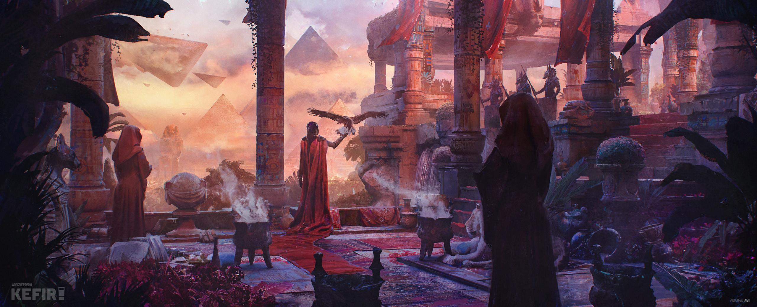 "Concept art for the workshop ""KEFIR"" studio worldbuilding design photoshop ancient fantasy"