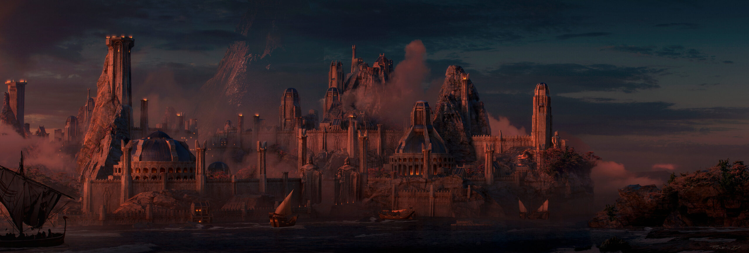 Artwork inspired by Númenor from the J. R. R. Tolkien books and mythology worldbuilding design zbrush photoshop 3d