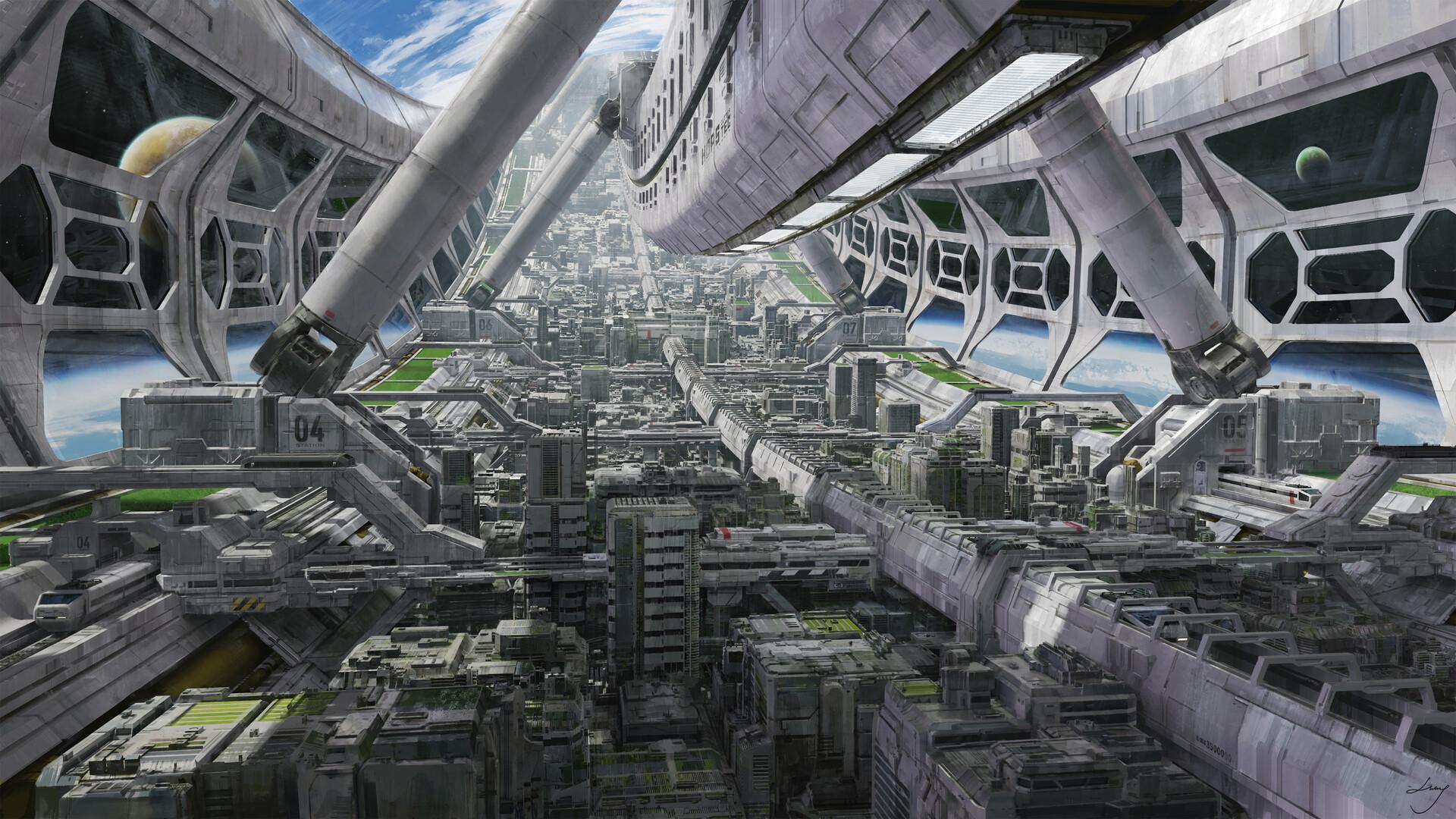 scifi art concept design station space