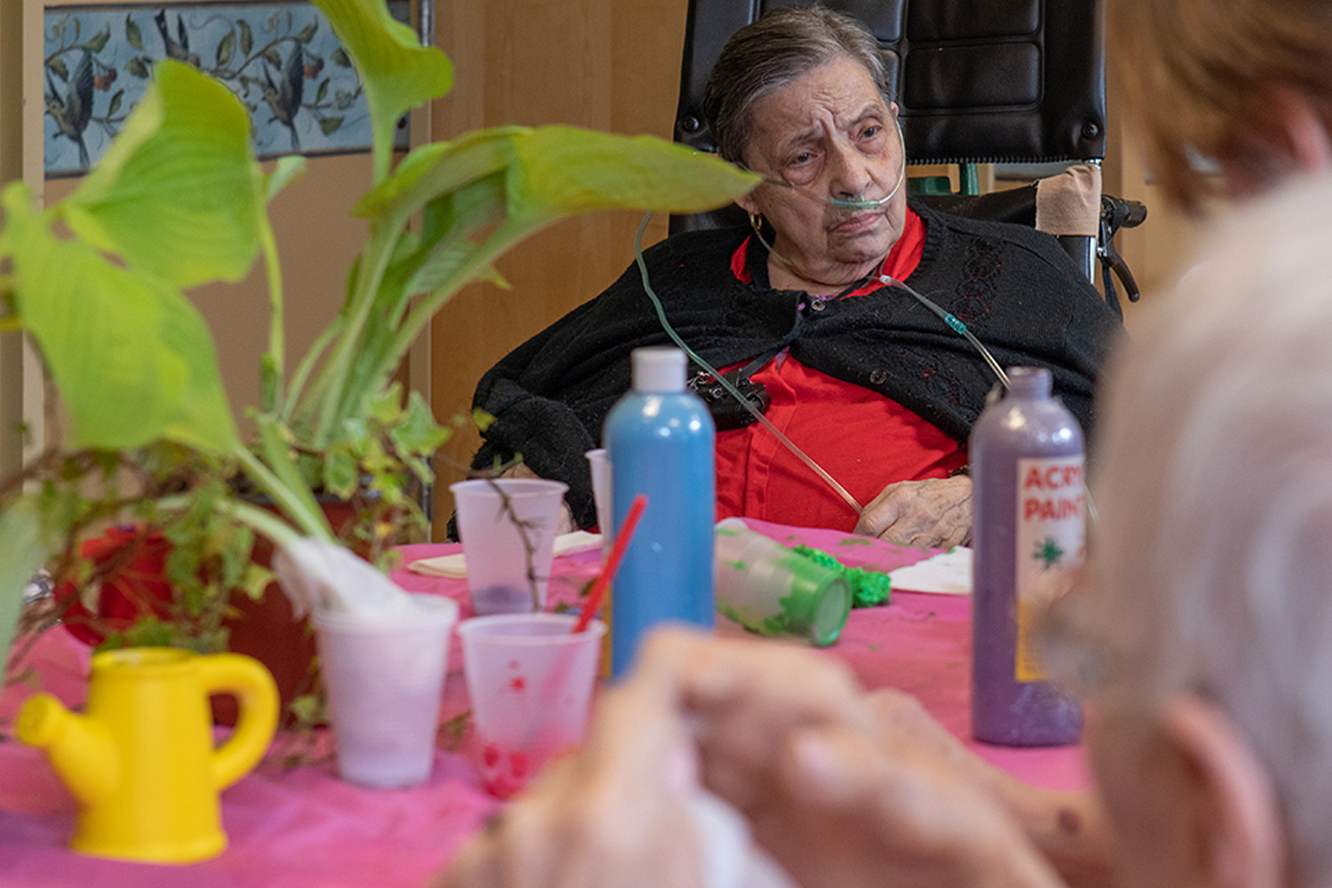 Female senior patient doing arts and crafts with other residents.
